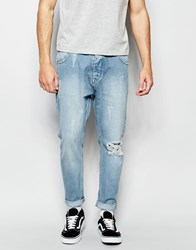 Asos Bow Leg Jeans In Light Blue With Raw Edge Waistband Detail Blue