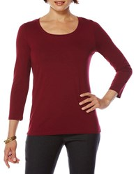 Rafaella Petite Solid Long Sleeve Tee Dark Cherry