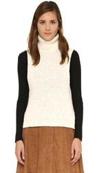 Enza Costa Burroso Knit Turtleneck Top Winter White