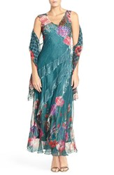 Komarov Women's Floral Print Chiffon Gown And Shawl
