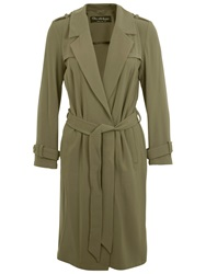Miss Selfridge Belted Flud Mac Coat Khaki