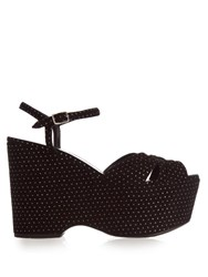 Saint Laurent Candy Polka Dot Suede Wedge Sandals Black Silver