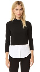 Theory Gracila Knit Shirttail Top Black