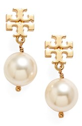 Women's Tory Burch Logo Faux Pearl Drop Earrings Ivory Shiny Gold