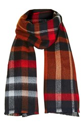 Topshop Check Mix Scarf Navy Blue