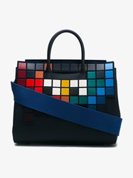 Anya Hindmarch Ephson Soft Invaders Leather Tote Multi Coloured Blue Navy Denim