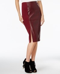 Guess Candra Faux Leather High Waist Pencil Skirt Zinfandel