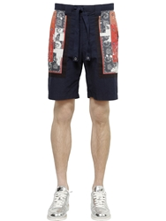 Miharayasuhiro Bandana Printed Cotton Twill Shorts Navy