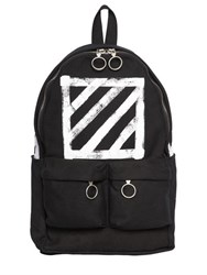 Off White Brushed Stripes Cotton Canvas Backpack