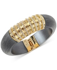 Inc International Concepts M. Haskell For Gold Tone Resin And Pave Hinged Bangle Bracelet Only At Macy's Black