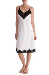 In Bloom By Jonquil Women's Satin Midi Nightgown Ivory Black