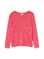 Chinti And Parker Heart Outline Sweater Pink Pink