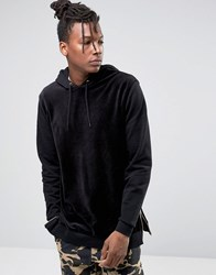 Asos Oversized Hoodie In Velour With Side Zips Black