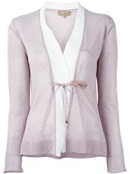 Fay Buckle Fastened Cardigan Pink And Purple