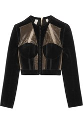 Balmain Cropped Paneled Velvet And Mesh Jacket Black