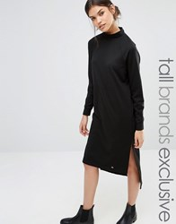 Noisy May Tall High Neck Long Sleeve Midi Sweat Dress Black