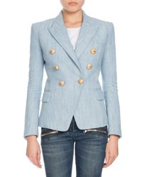 Balmain Double Breasted Chambray Tweed Blazer Denim