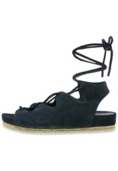 Chocolate Schubar Olivia Platform Sandals Deep Blue Dark Blue