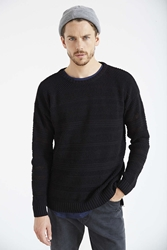 Your Neighbors Open Knit Drop Tail Crew Neck Sweater Black