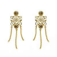 Biba Gold Chain Drop Emblem Earrings