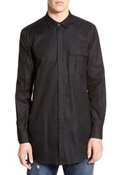 Men's Antony Morato Longline Woven Shirt With Faux Leather Trim