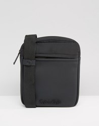 Calvin Klein Ck Zef Mini Flat Crossover Bag Black
