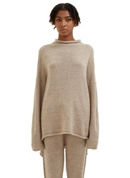Lauren Manoogian Oversized Knitted Boat Neck Sweater Beige