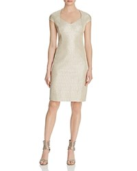 Kay Unger Metallic Knit Sheath Dress Gld