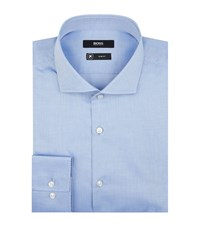 Boss Micro Herringbone Slim Fit Shirt Male Blue