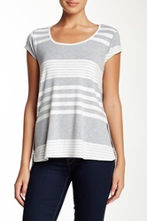 Olivia Moon Scoop Neck Cap Sleeve Tee Gray