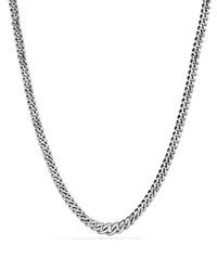 David Yurman Petite Pave Curb Chain Necklace With Diamonds Silver White