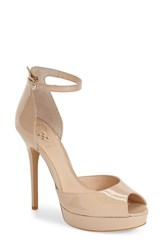 Women's Vince Camuto 'Lillith' Ankle Strap Platform Pump Powder Blush Patent Leather