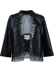 Carolina Herrera Sheer Embellished Jacket Black