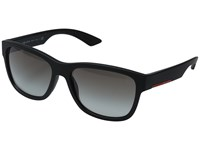 Prada Linea Rossa 0Ps 03Qs Black Rubber Grey Gradient Fashion Sunglasses