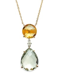 Macy's 14K Gold Necklace Citrine 3 1 3 Ct. T.W. Green Amethyst 8 Ct. T.W. And Diamond Accent Pear Drop Pendant