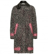 Balenciaga Leather Trimmed Wool Blend Boucle Coat Black