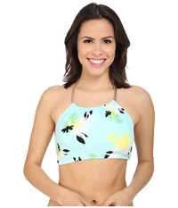 Vince Camuto Pool Side Chain Halter Crop Top W Removable Soft Cups Aqua Shade Women's Swimwear Blue