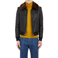 Faux Fur Lined Leather Jacket Black