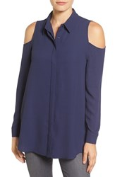 Pleione Women's Cold Shoulder Blouse Navy Peacoat