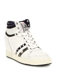 Ash Prince Studded High Top Wedge Sneakers White Black