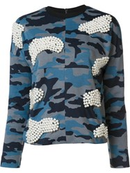 Maki Oh Pearl And Camouflage Sweatshirt Blue