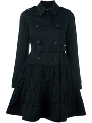 Red Valentino Double Breasted Flared Coat Black
