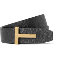 Tom Ford 4Cm Black And Brown Reversible Grained Leather Belt Black