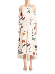 Tibi Bella Floral Open Back Dress White