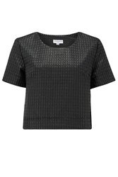 Almost Famous Quilted Crop Tee Black