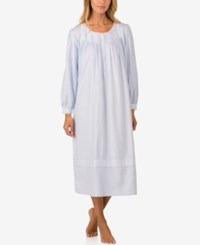 Eileen West Embroidered Ballet Length Flannel Nightgown Blue