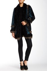 Anna Sui Ombre Faux Fur Jacket Blue