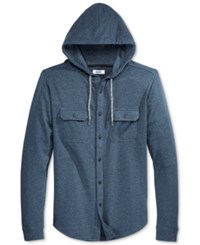 Univibe Men's Long Sleeve Hoodie Shirt Indigo Heather