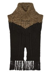 Thakoon Addition Fringed Cable Knit Wool Blend Sweater Mushroom