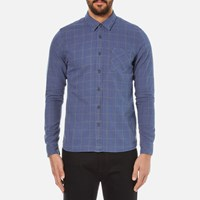 Nudie Jeans Men's Henry Flannel Check Shirt Indigo Blue